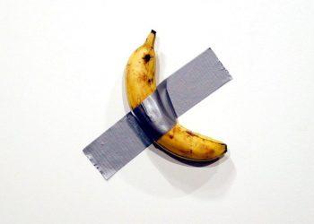 a banana taped to the wall at art basel